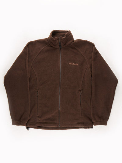 Columbia Drawstring Hem Fleece with Front Pockets / Brown / Size Small