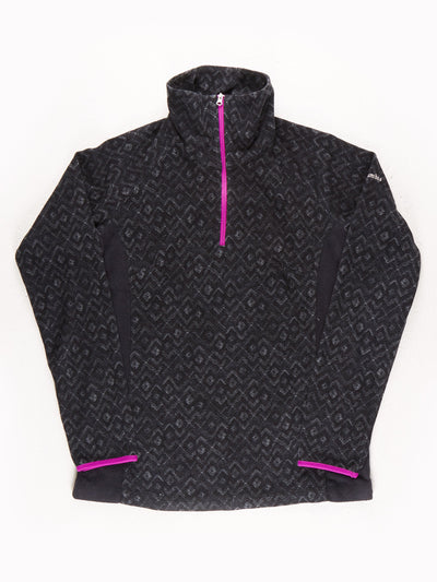 Columbia Printed Fleece with Neon Zip / Black / Purple / Size Medium