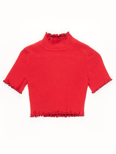 Remade High Neck Lettuce Hem Ribbed Crop Top / Red / Size Small