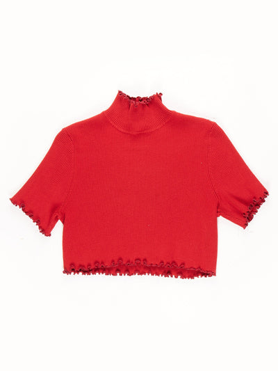 Remade High Neck Lettuce Hem Ribbed Crop Top / Red
