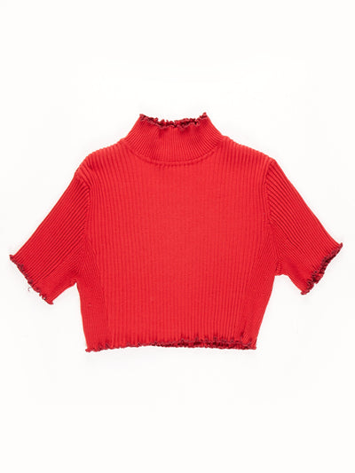 Remade High Neck Lettuce Hem Ribbed Crop Top / Red / Size 14/16