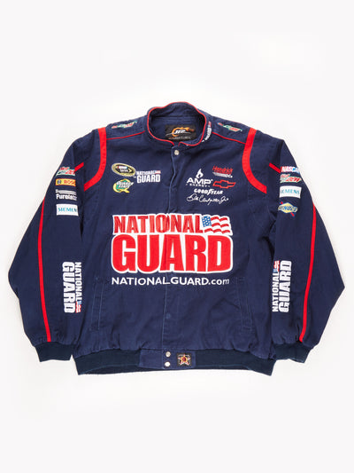 Nascar 'National Guard' Racing Jacket with Mountain Dew Back Print / Navy / Red / White