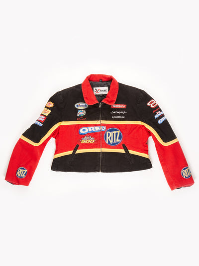 Nascar Cropped Racing Jacket / Red / Black / Yellow / Size XXL