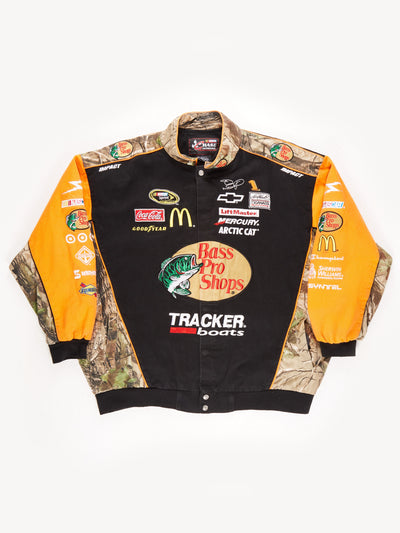 Nascar 'Bass Pro Shops' Camouflage Racing Jacket / Black / Orange / Green