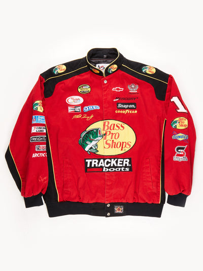 Nascar 'Bass Pro Shops' Racing Jacket / Red / Black / Yellow / Size XXL