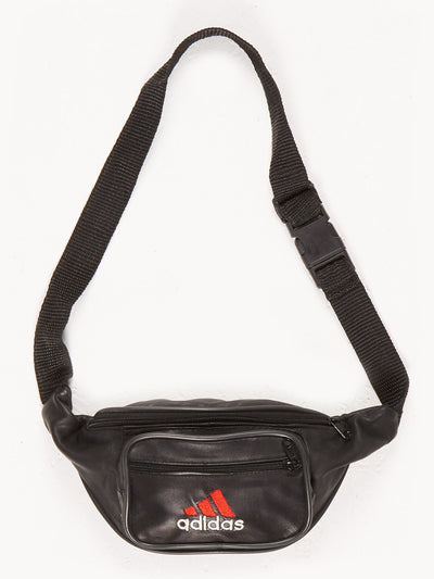 Adidas Leather Bumbag Black / Red Size XS