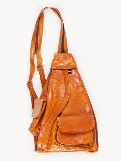 Tan Leather Mini Backpack With Zip Strap Brown Size XS