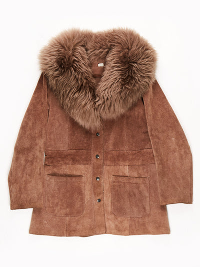 70's Penny Lane Suede Fur Trim Jacket / Brown / Medium