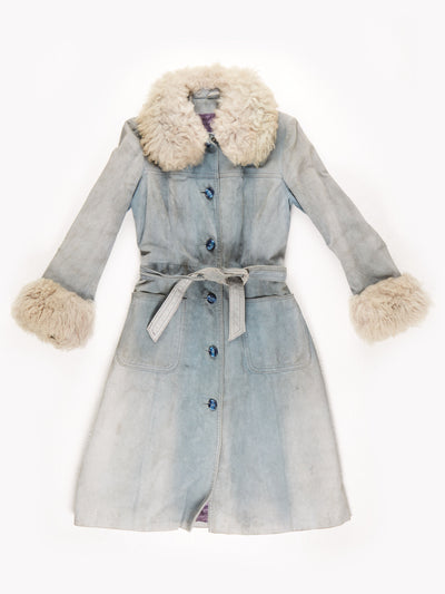 70's Penny Lane Suede Fur Trim Long Belted Coat / Grey / Blue / Small