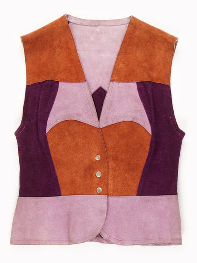 70's Suede Block Colour Waistcoat / Lilac / Purple / Brown / Small