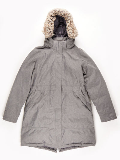 The North Face HyVent Mid Length Padded Parka With Fur Trim Hood / Grey / Large