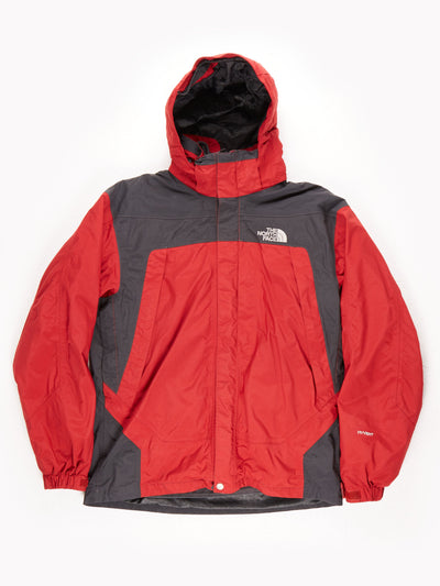 The North Face HyVent Waterproof Coat With Hood / Red / Grey / Medium