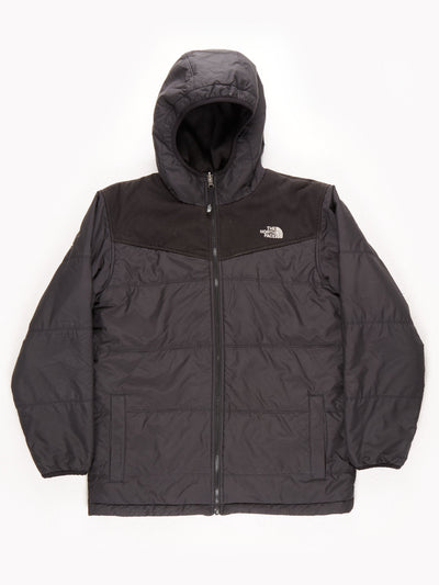 The North Face Quilted Fleece Lined Reversible Coat With Hood / Black / Medium