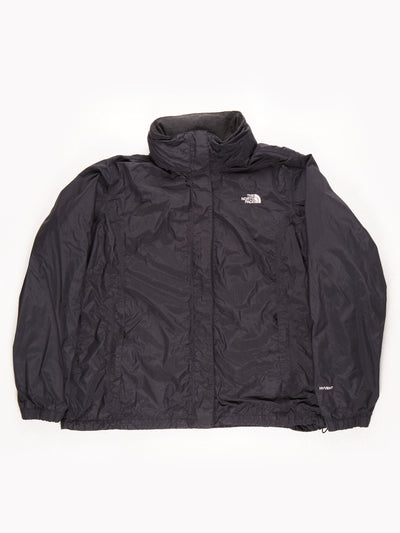 The North Face HyVent Waterproof Jacket With Fold Away Hood / Black / XXL