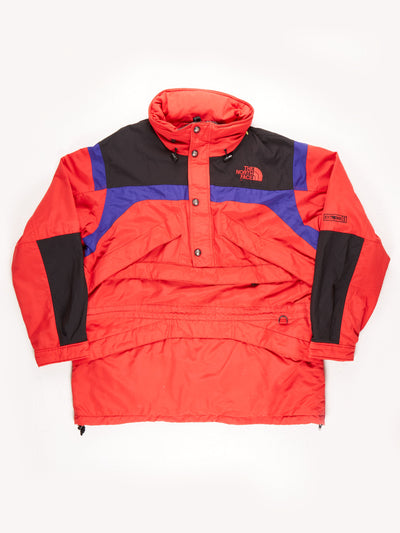 The North Face Extreme Gear 3/4 Zip Pullover Waterproof Jacket With Fold Away Hood / Red / Blue / Black / XXL