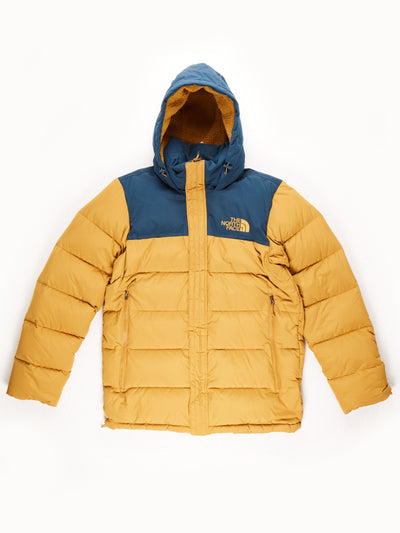 The North Face Puffer Coat With Hood / Mustard / Navy / Small
