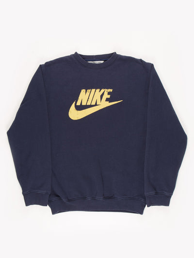 Nike Spell Out Sweatshirt Blue/Gold Size Medium