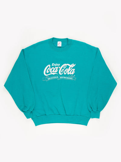 Coca-Cola Spell Out Sweatshirt Teal/White Size Large