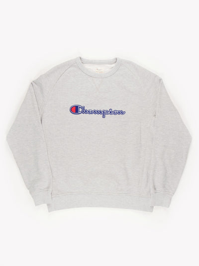 Champion Spell Out Sweatshirt Grey/Blue/Red Size XXL