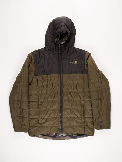 The North Face Reversable Puffer Jacket With Hood Green/Black/Camo Size Boys XL