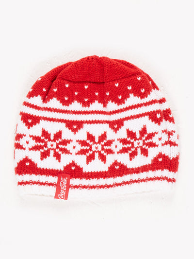 Coca-Cola Patterned Beanie Red/White