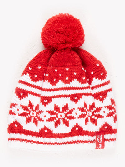 Coca-Cola Patterned Beanie With Pom Pom Detail Red/White