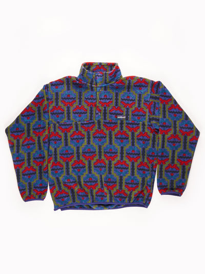 Patagonia Patterned Button Up Fleece purple / red / green/ Size Medium