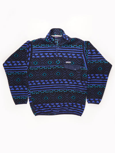 Patagonia Patterned Button Up Fleece black / blue / Size Small