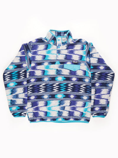 Patagonia Patterned Button Up Fleece / grey / blue / Size Medium