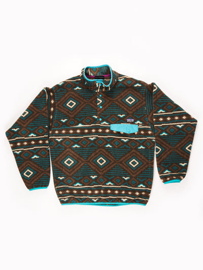 Patagonia Patterned Button Up Fleece / brown / green / blue / Size Medium