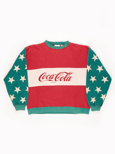 Coca Cola Spell out Sweatshirt With Star Detailing Red/Green/Cream No Size
