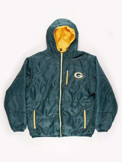 Green Bay Packers NFL Puffer Jacket With Hood Green/Yellow Size Large