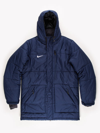 Nike Storm Fit Puffer Jacket With Hood Blue Size Medium