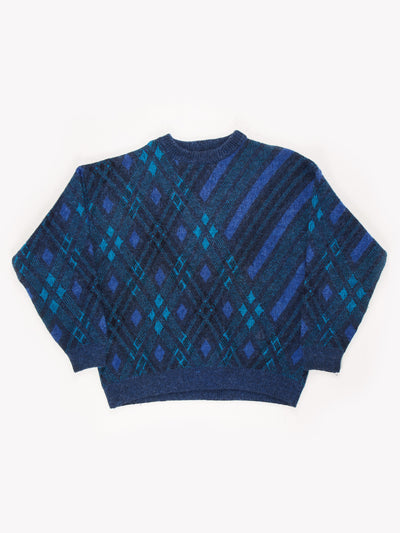 Yves Saint Laurent Patterned Knit Jumper Blue/Green Size XL