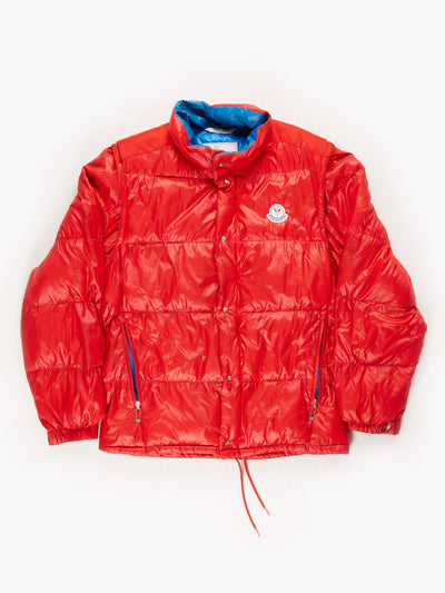 Moncler Puffer Jacket With Removable Sleeves Red/Blue Size 2