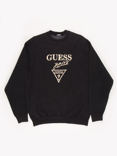 Guess Jeans Spell Out Sweatshirt Black/Gold No Size
