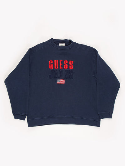 Guess Jeans Spell Out Sweatshirt Blue/Red Size Large
