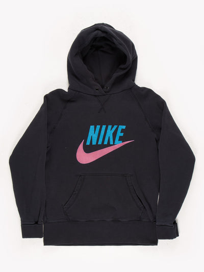 Nike Spell Out Hoodie Black/Blue/Pink Size Large