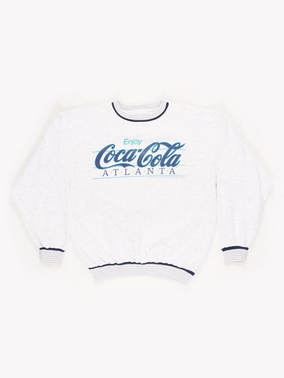 Coca Cola Atlanta Spell Out Sweatshirt Grey/Blue/Green Size Small