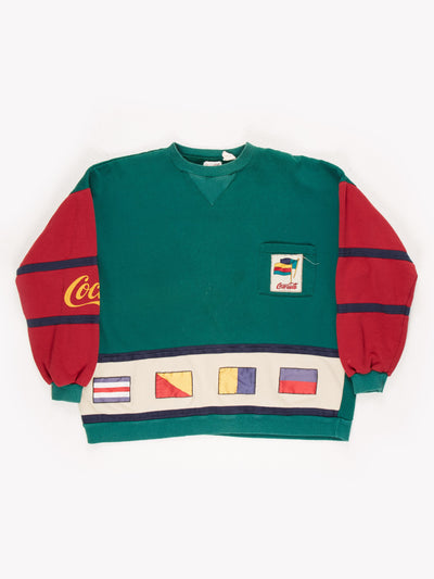 Coca Cola Sweatshirt Green/Red/Cream/Yellow/Blue Size Large