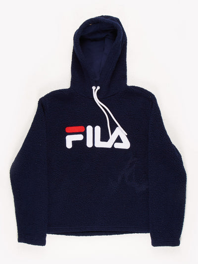 Fila Spell Out Fleece Hoodie Navy/White/Red Size Small