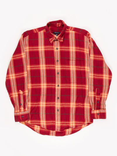 Burberry Check Button Up Shirt Red/Orange/White Size Small