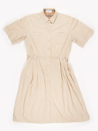Burberry Button Up Maxi Dress Beige Size UK22