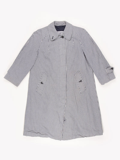 Burberry Check Trench Coat Blue/White Size Medium