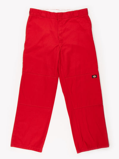Dickies Loose Fit Double knee Trousers Red Size 36x31