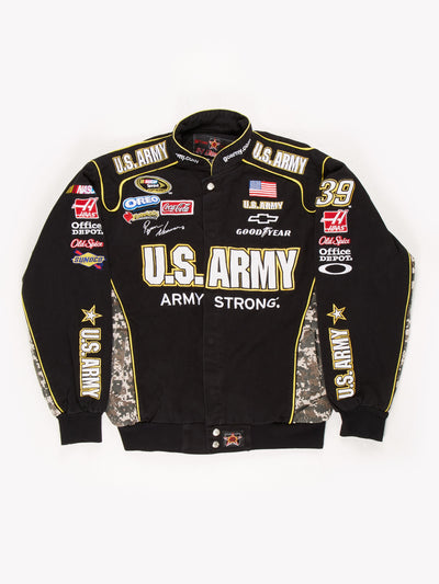 U.S. Army Nascar Racing Jacket Black / Yellow / Camo Size Large