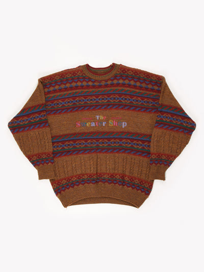 The Sweater Shop Patterned Knit Jumper Brown/Blue/Red/Green Size XL