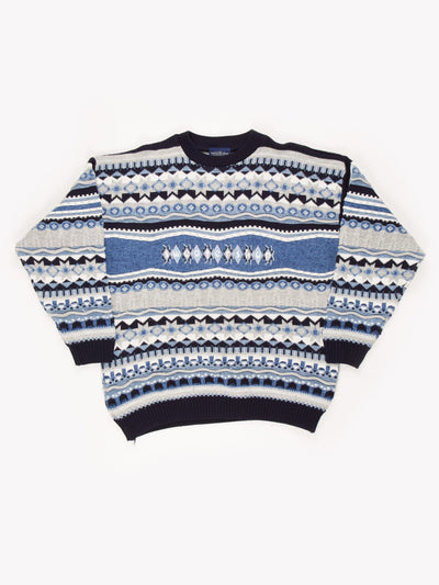 The Sweater Shop Patterned Knit Jumper Blue/Grey/White Size XL