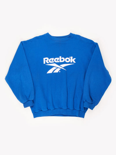 Reebok Spell Out Sweatshirt Blue/White Size XL
