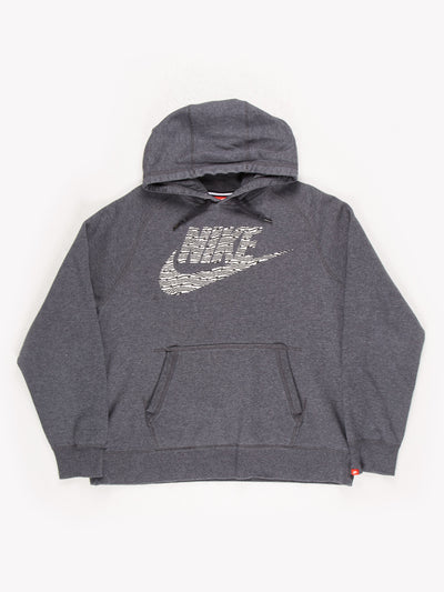 Nike Spell Out Zebra Print Hoodie Grey/White/Black Size XL